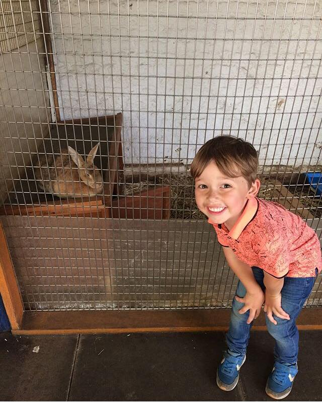 Elliot posing with an adorable bunny rabbit at Coram's Fields